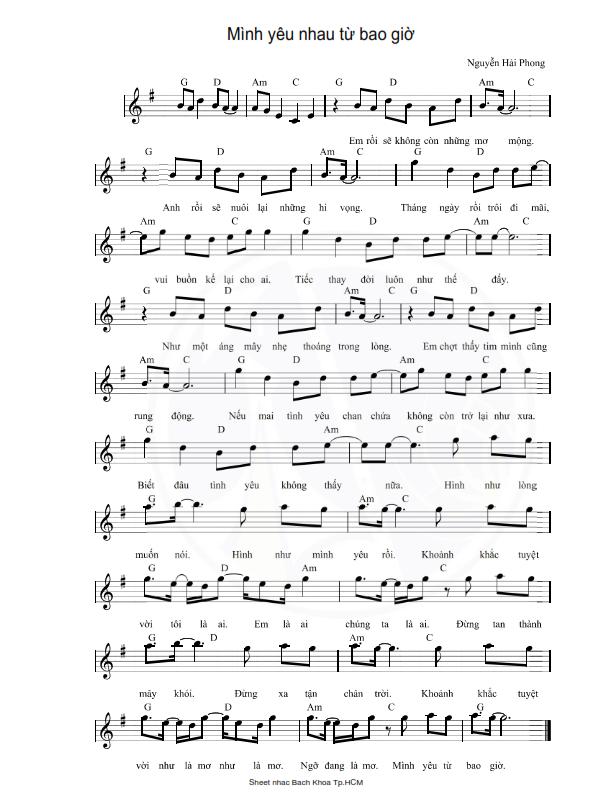 Sheet nhạc bài: MÌNH YÊU NHAU TỪ BAO GIỜ - Hợp âm Pro