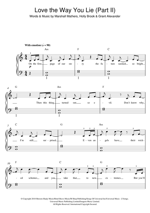 "Rihanna ""Love The Way You Lie, Part II (feat. Eminem)"" Sheet Music ..."